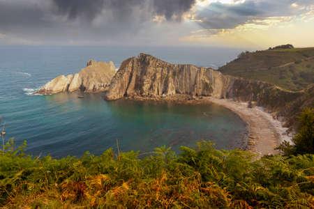 Gavieiro Beach also known as Silence Beach in Asturias, Spain. In the municipality of Castañeras, of geomorphological interest, it is a paradisiacal stone beach