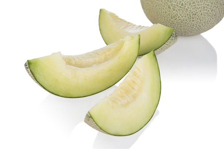 cantaloupe melon slices  isolated on white background. with clipping path