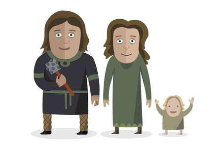 Balts. People in national dress. Family dressed in traditional costume. National clothes. Vector illustration.