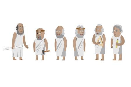 Greccy filozofowie, naukowcy. Ilustracje wektorowe