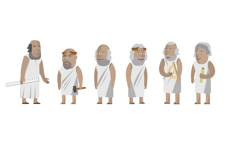 Wissenschaftler der griechischen Philosophen. Vektorgrafik