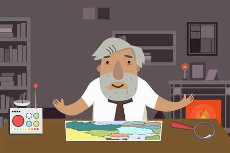 Professor-historian in the office. Animated character. Illustration