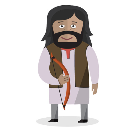 Man in national dress. Bow and arrows. Indo-Europeans. National clothes. Vector illustration.
