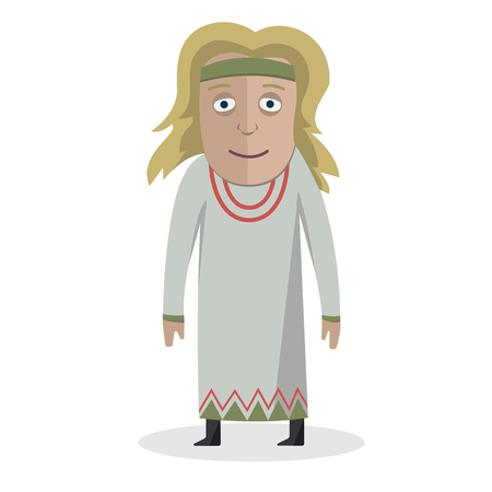 Woman in national dress. Slavs. National clothes. Vector illustration. Иллюстрация