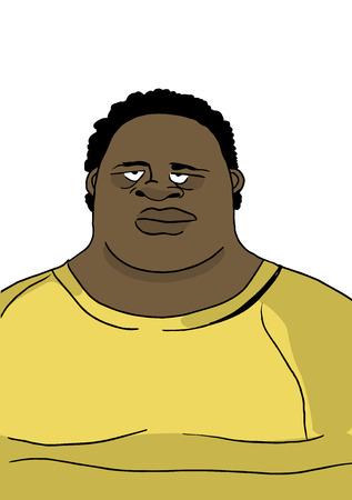 Fat man in wide clothing, portrait, vector illustration Illusztráció