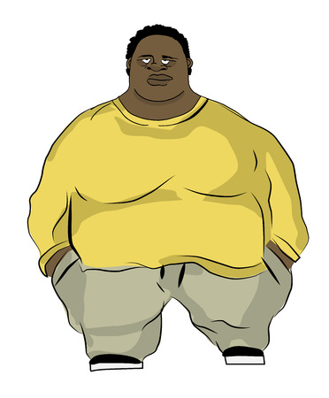 Fat man in wide clothing, vector illustration
