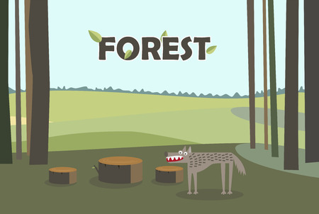Wolf in forest. Tree Stumps. Cartoon vector with forest background. Иллюстрация