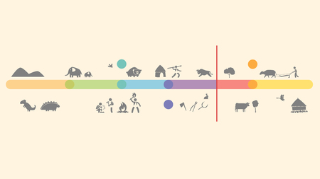 Geochronological scale. Timescale. Icons animal, people cartoons illustration history