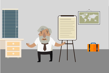 Professor-historian in the room. Flip chart. Animated character.. Vector illustration. Cartoon character. Illustration