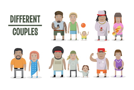 Set of different couples and families, cartoon style people, with baby