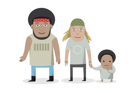 happy family cartoon people characters isolated illustration on white background smiling young parents standing with children