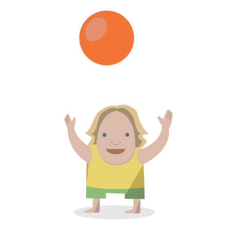 Kid with ball. Vector Illustrations on a white background. Иллюстрация