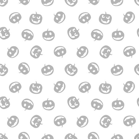 grey pattern of haloween pumpkins black and whit vector illustration