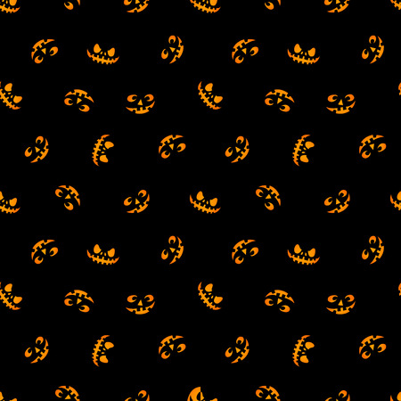 pumpkin faces glowing on black background seamless pattern