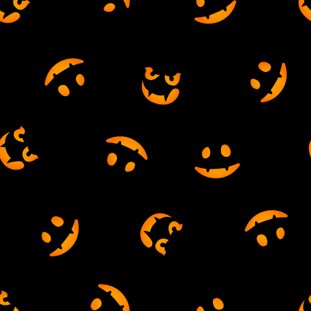 pumpkin faces glowing on dark background seamless pattern Illusztráció