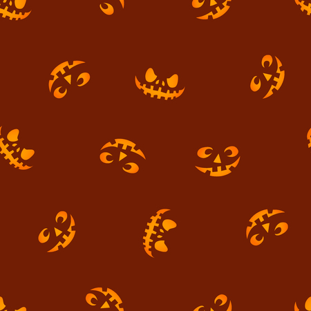 pumpkin faces glowing on red background seamless pattern