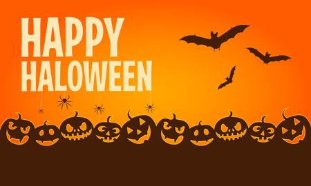 cartoon halloween banners horizontal halloween banners with happy Halloween typography vector illustration Illusztráció