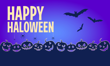 Cartoon halloween banners in blue color. Horizontal halloween banners with Happy Halloween typography. Vector illustration.