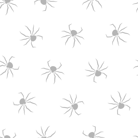 Seamless pattern with spiders. Halloween grey background.