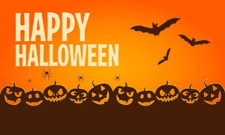 Happy halloween banners. Flat designed elements. Vector Illustration.