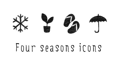 Set of season icons. Hand drawing. Winter, spring, summer, autumn. Фото со стока