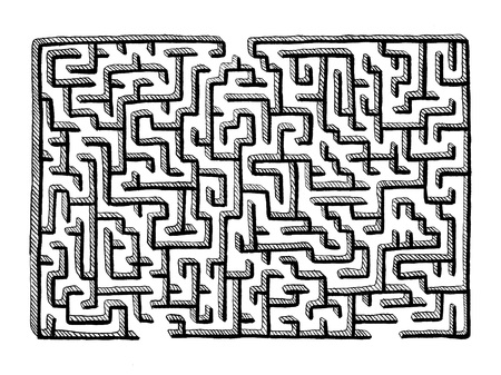Hand drawn mazes labyrinth isolated on white background