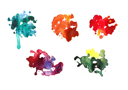 Set of watercolor blot. Watercolor art hand paint on white background.