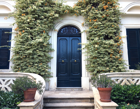 View of a Beautiful House Exterior and Front Door Seen. There are windows on either side of the door, plants on the wall. Horizontal shot
