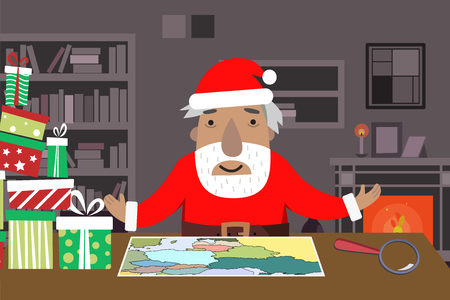 Santa Work space with map and magnifying glass Gift Boxes Table Shelves fireplace