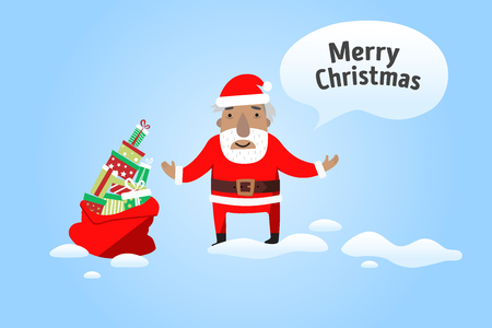 Merry Christmas Santa Claus with a sack of gifts Иллюстрация