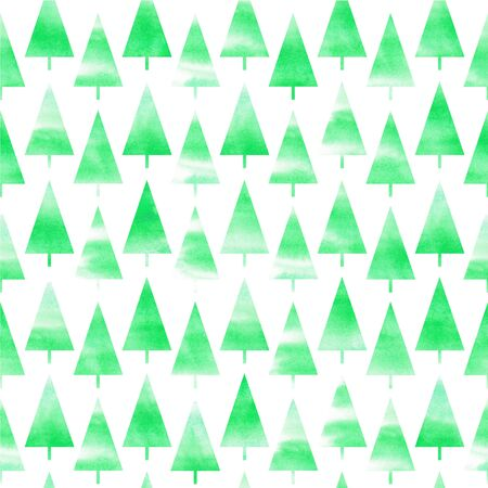 Watercolor Christmas tree. Background of watercolor Christmas tree. Seamless pattern Фото со стока