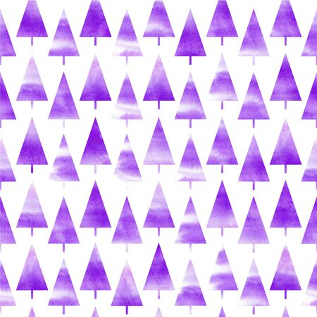 Background of watercolor Christmas tree. Seamless pattern. Violet Christmas background. Фото со стока