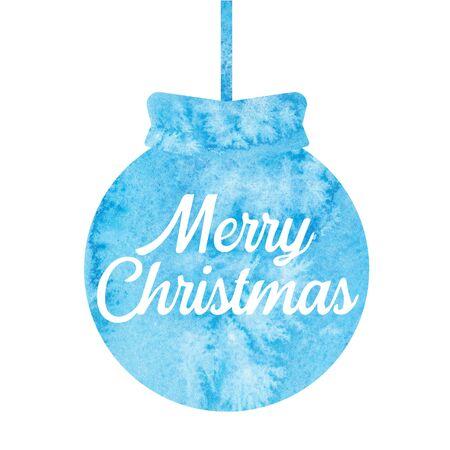 Merry Christmas. Greeting christmas card with christmas ball. Watercolor. Stock fotó
