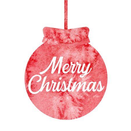 Merry Christmas. Greeting christmas card with red christmas ball. Watercolor.