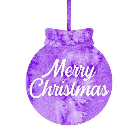 Merry Christmas. Greeting christmas card with christmas purple ball. Watercolor.