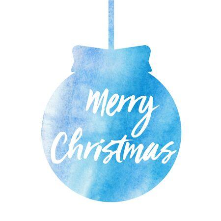 Merry Christmas. Christmas card with watercolor christmas ball.
