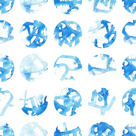 Hand painted seamless circles pattern. Abstract watercolor shapes. blue Фото со стока
