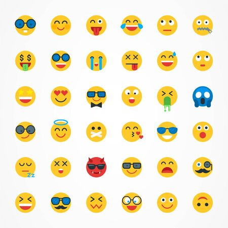 Flat Emoji Emoticon Icon Set