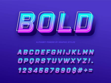 Modern 3D bold letters and numbers with futuristic effects powered by graphic text styles. Graphic styles file included for easy editing.