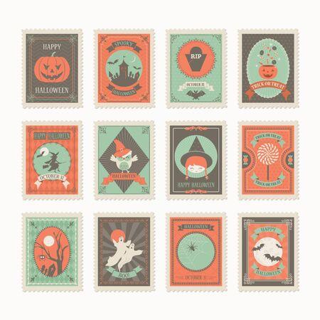 Highly detailed halloween post stamp vector set in retro vintage style. Ilustración de vector