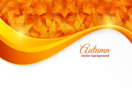 Abstract background with bright autumn leaves waves banner and light effects. With space for text.