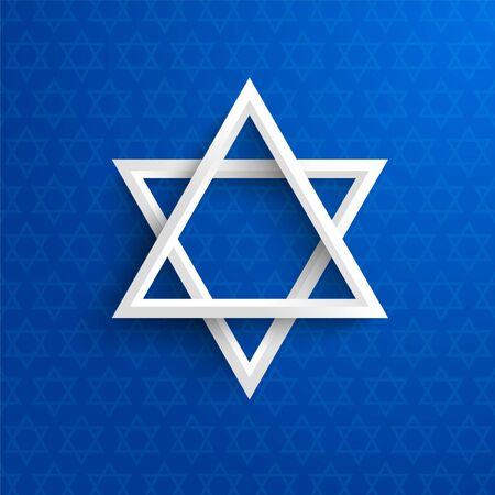 Vector 3D white paper Star Of David on blue background. Great for use in Yom Kippur, Passover, Hanukkah and many more concepts. Illustration