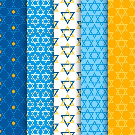 Vector seamless patterns of the Jewish David star in blue, yellow and white colors. Pattern swatches included in file for easy editing. Great for use in Jewish celebration designs such as Shabbat and Hanukkah.