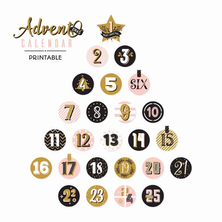 Vector printable advent calendar Christmas tree with decorative numbers isolated on circles. Illustration