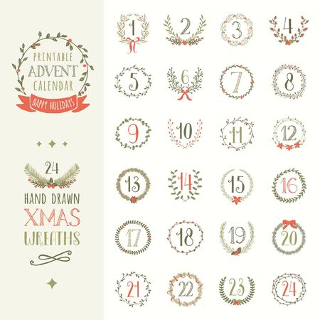 Printable advent calendar vector set with 24 hand drawn Christmas wreaths and holiday season elements.