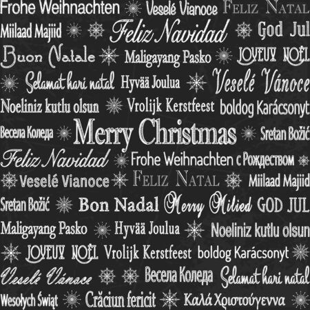 Merry Christmas in any language chalk drawn multilingual holiday vector background. Illustration
