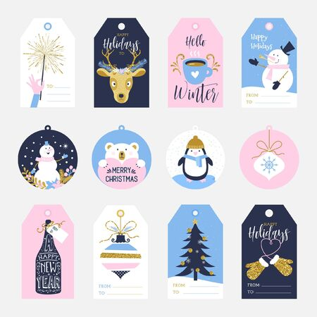Vector collection of cute hand drawn Christmas and New Year ready to use printable holiday gift tags in the colours pink, blue and gold texture.