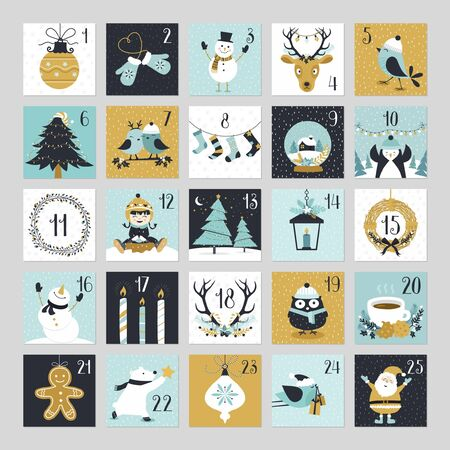 Cute Christmas countdown advent calendar with winter, santa claus, reindeer, pine tree and joyful vector illustrations in hand drawn style.