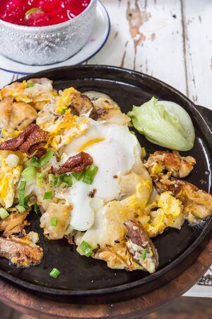 Fried chicken with eggs and noodle