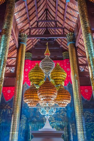 Thai architecture , Royal Pavilion, in the Public Park at Chiang Mai, Thailand